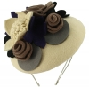 Max and Ellie Felt Bouquet Pillbox Headpiece in Ivory