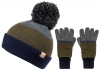 Boardman Cruz Mens Multi Colour Beanie with Matching Gloves in Khaki
