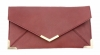 Papaya Fashion Faux Leather Envelope Bag in Maroon