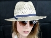 Matthew Eluwande Millinery Ivory Straw Hat with Denim Band