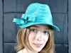 Matthew Eluwande Millinery Turquoise Straw Face Cap