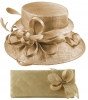 Elegance Collection Sinamay Wedding Hat with Matching Sinamay Bag in Metallic Nude