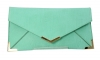 Papaya Fashion Faux Leather Envelope Bag in Mint