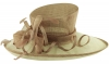 Hawkins Collection Wide Brim Ascot Hat in Mocha & White