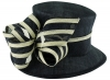 Hawkins Collection Ivory Stripes Wedding Hat in Navy & Ivory