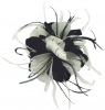 Failsworth Millinery Feather Fascinator in Navy & White