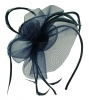 Aurora Collection Swirl & Biots Fascinator on aliceband in Navy
