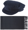 Failsworth Millinery Mariner Cord Cap with Matching Lambswool Scarf in Navy