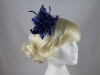 Aurora Collection Flower with Biots Comb Fascinator in Navy