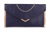 Papaya Fashion Envelope Faux Leather Bag in Navy