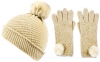 Alice Hannah Alina Diagonal Ribbed Beanie with Matching Gloves in Oatmeal