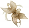 Failsworth Millinery Sinamay Diamante Clip Fascinator in Oyster-Silver