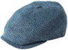 Failsworth Millinery Silk Mix Hudson Bakerboy Cap in Pattern 185 - Blue Grey