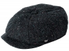 Failsworth Millinery Carloway Harris Tweed Baker Boy Cap (Latest Version) in Pattern 3002 - Black