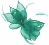 Failsworth Millinery Sinamay Diamante Clip Fascinator in Peacock