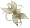 Failsworth Millinery Sinamay Diamante Clip Fascinator in Pearl-Silver