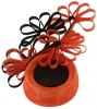 Failsworth Millinery Ascot Pillbox Headpiece in Persimmon & Black
