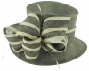 Hawkins Collection Ivory Stripes Wedding Hat in Pewter & Ivory