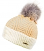 Alice Hannah Alesha Chevron Multi Colour Bobble Hat in Pink