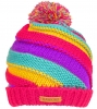SSP Hats Girls Chunky Twist Knit Beanie Bobble Hat  in Pink