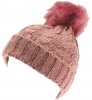 SSP Hats Ladies Cable Knit Bobble Hat in Pink