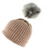 Zelly Detachable Bobble Beanie Hat in Pink