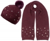 Alice Hannah Allie Sparkly Stars Bobble Hat with Matching Scarf in Plum