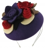 Max and Ellie Felt Bouquet Pillbox Headpiece in Purple