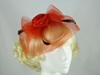 Flower and Veil Fascinator in Red