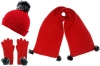 Alice Hannah Alina Ribbed Beanie with Matching Scarf and Gloves in Red