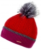 Alice Hannah Ella Knitted Wool Beanie Bobble Hat in Red
