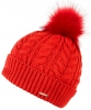 Alice Hannah Madeline Knitted Beanie Bobble Hat in Red