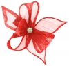 Elegance Collection Diamante Clip Fascinator in Red