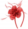 Elegance Collection Diamante Flower Fascinator in Red