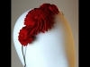 Esther Louise Millinery Origami Ribbon Flowers Headpiece in Red