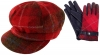 Failsworth Millinery Harris Tweed Bakerboy Cap with Matching Gloves in Red