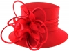J Bees Millinery Shantung Occasion Hat in Red