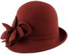 Failsworth Millinery Wool Flower Vintage Cloche in Redwood