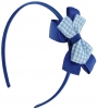 Daisy Daisy Aliceband Gingham Bow in Royal Blue