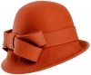 Hawkins Collection Wool Felt Vintage Cloche Bow Hat in Rust