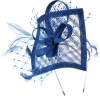 Max and Ellie Angular Sinamay Aliceband Fascinator in Sapphire