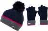 Alice Hannah Ella Knitted Wool Beanie with Matching Gloves in Navy