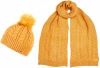 Alice Hannah Madeline Knitted Beanie and Matching Knitted Scarf in Ochre