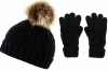 Boardman Darby Ladies Cable Knit Beanie and Matching Gloves in Black