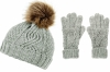 Boardman Darby Ladies Cable Knit Beanie and Matching Gloves in Grey