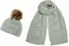 Boardman Darby Ladies Cable Knit Beanie with Matching Scarf in Grey