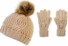 Boardman Darby Ladies Cable Knit Beanie and Matching Gloves in Oatmeal