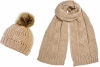 Boardman Darby Ladies Cable Knit Beanie with Matching Scarf in Oatmeal