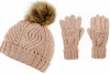 Boardman Darby Ladies Cable Knit Beanie and Matching Gloves in Pink