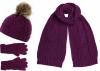 Boardman Darby Ladies Beanie with Matching Scarf and Gloves in Plum